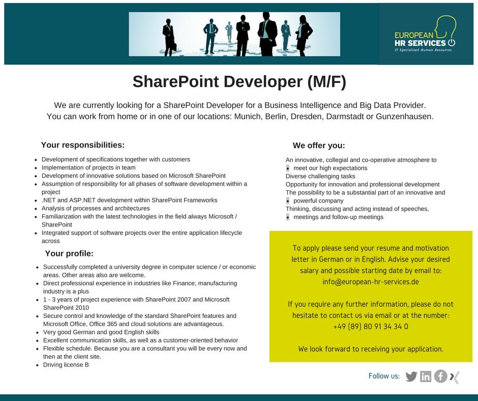 sharepoint developer resume
